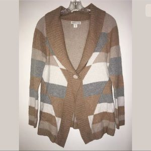 Coldwater Creek Cardigan Sweater XS 4-6 Brown Gray